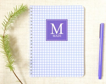 Personalized Mini Spiral Notebook | Gingham Check Pattern | Monogram Notebook | Custom Colors | Custom Notebook