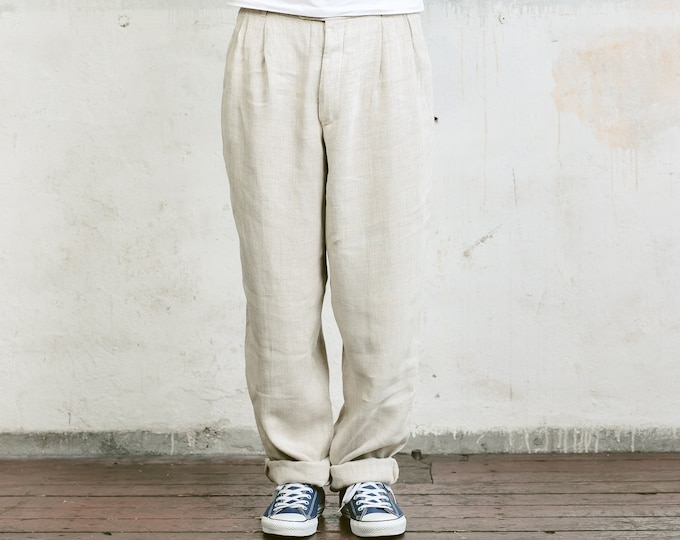 Matinique Linen Blend Trousers . Mens 80s Pants Straight Leg Dad Pants Oldschool Chinos Nerd Everyday Clothing Dad Gift . size Medium M