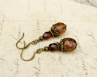 Brown Earrings, Topaz Earrings, Smoky Topaz Earrings, Victorian Earrings, Brown Dangle Earrings, Czech Glass Beads, Antique Gold Earrings