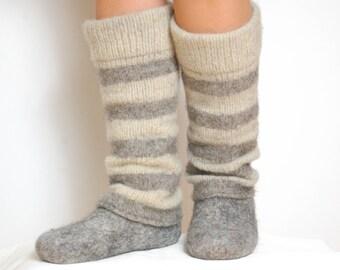 Striped boiled wool slouchy leg warmers, striped leg warmers