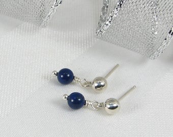 Very Tiny Lapis Lazuli and Sterling Silver Ball and Post Earrings