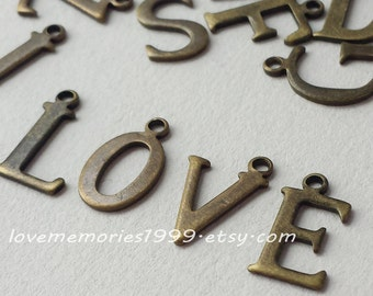 15mm  Brass  Initial charms, Antique Bronze letter charm , Personalized Initials charms, uppercase charms