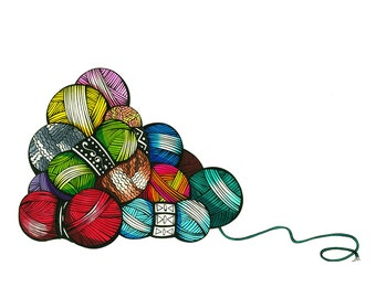 Yarn Stockpile - Archival Print From Original Drawing