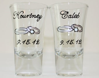 Hand Painted Wedding Engagement Shot Glasses, Shooters Bride Groom Mr. Mrs. Personalized Dated Silver Rose Gold Rings Interweaved Hearts