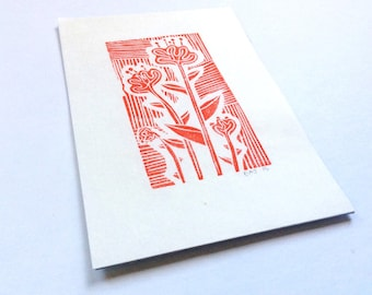 linocut - FLOWERS // 4x6 art print // printmaking // block print // nature art // red // wildflowers // original art // miniature