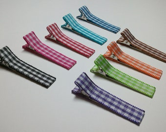 12 Lined Gingham Alligator Clips with Non-Slip Grips -- You Pick Color (QUICK TO SHIP)