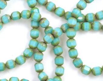 Turquoise Picasso Czech Glass Cathedral Beads 8mm - 25