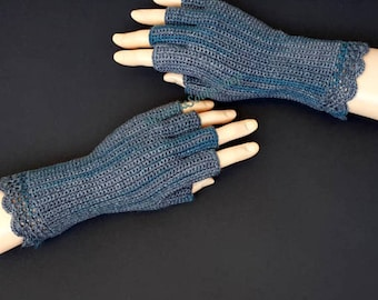 Gray Turquoise Half Finger Gloves Women's Half Finger Gloves Girl's Finger Gloves Wrist Warmers Hand Warmers Arm Warmers Fingerless Gloves