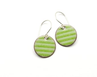 Green Striped Earrings with Sterling Silver Earwires - Lightweight Enamel Jewelry for Everyday Wear - Gift for Women