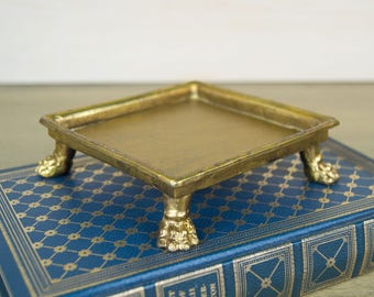 Square Lion Paw Footed Gold Tray