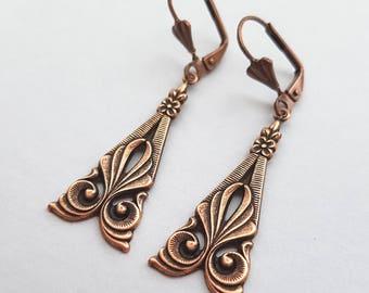 Antique Copper Art Deco Swirl Earrings, Ornate Earrings, Dangle Earrings, Deco Wedding