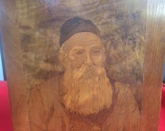 Vintage Wood Inlay Portrait of Biblical figure with cap