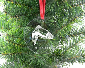 Personalized Custom Trout Clear Acrylic Christmas Tree Ornament with Ribbon