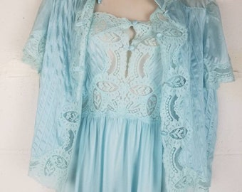 Lily of France Vintage Aqua Blue Silky Nylon and Lace Full Length Nightgown Peignoir Set Short Sleeves Nightgown Bed Jacket Vintage Lingerie