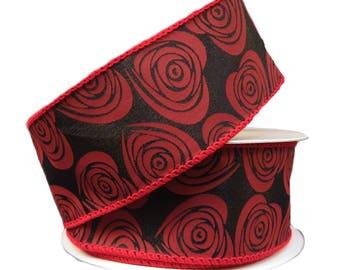 "1.5"" Red Black Floral Hearts Ribbon Q811409-21, Red Black Valentine Ribbon, Red Black Hearts Ribbon, Wired Valentine Ribbon"