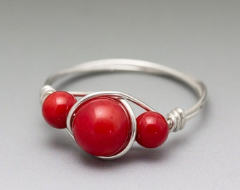 Red Coral Sterling Silver Wire Wrapped Gemstone Bead Ring - Made to Order, Ships Fast!