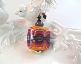 Necklace orange purple glass lampwork beads with crystals