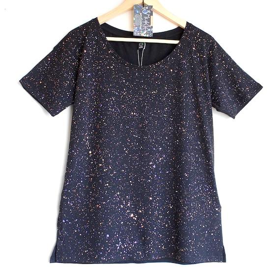 FIREFLIES t-shirt. Ladies loose fit tshirt. Women's organic cotton and tencel open neck t-shirt. Black speckled t-shirt.