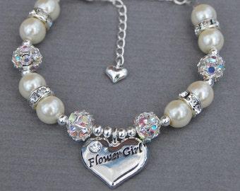 Flower girl Bracelet, Girls Wedding Jewelry, Gift for Flower girl, Flower girl Jewelry, Little Girls Bracelet, Girls Pearl Bracelet