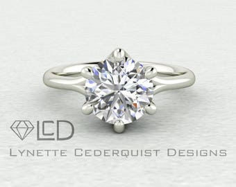 The Maya 1.5 carat Forever One Moissanite Six Prong Solitaire Engagement Ring