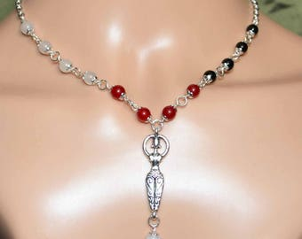 The Triple Goddess Necklace with White Jade, Ruby, and Black Onyx - Handmade Pagan Jewellery, Wicca, Witch, Maiden, Mother, Crone, Gemstone
