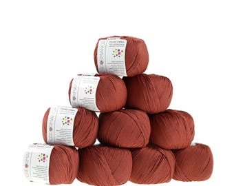 10 x 50g knitted yarn Dainty cotton, #207 Brown