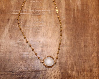 Neutral Druzy Pendant on Gold Filled Rosary Chain