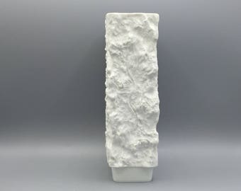 Scherzer 494 white bisque porcelain bark / rock vase, height : 23.5 cm. Mid Century Modern 1960s / 1970s  Germany.