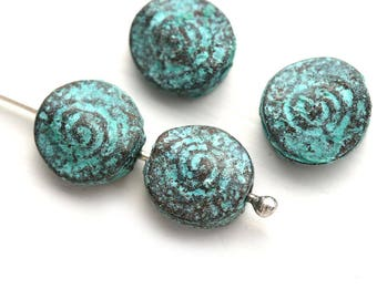 Spiral metal beads, Green Patina on copper, round greek casting beads, flat, coin shape, Lead Free, 9mm - 4Pc - F156