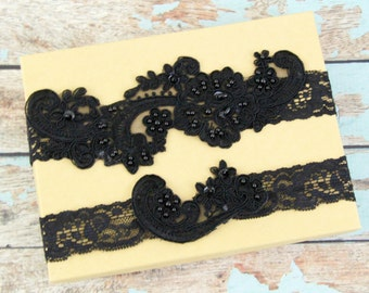 Black Pearl Beaded Lace Wedding Garter Set ,Black Lace Garter Set, Toss Garter ,Black Garter Belt  / GT-53