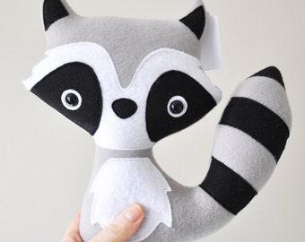Plush Raccoon - Woodland Creature - READY TO SHIP