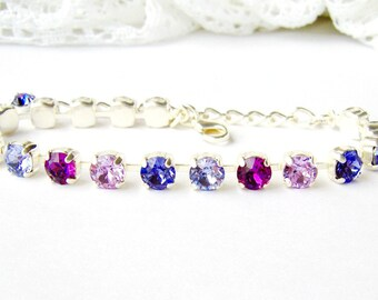 Purple rhinestone tennis bracelet / February birthstone Amethyst / Birthday gift / Swarovski crystal / Gift for her / Shades of purple