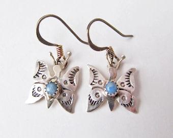Butterfly Earrings, Small Silver Earrings, Tiny Earrings, Butterfly Jewelry, Nature Jewelry, Gifts for Teen Girls, Blue Stone Earrings