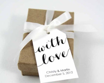 With Love Tags - Wedding Favor Tags - Baptism Tags - Christening Tags - Custom tags - Personalized Tags - SMALL
