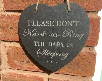 Baby sleeping/welcome door slate sign