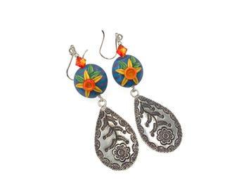 Sterling Silver Floral Earrings, Colorful Stripe Earrings, Gift Ideas, Lampwork Earrings, Dangle Earrings, Long Earrings, Sunflower Earrings