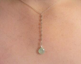 Y Necklace, Lariet Necklace, Gemstone Lariat, Chalcedony Gemstone Necklace, HOLIDAY GIFT, Green Gemstones, May Birthday
