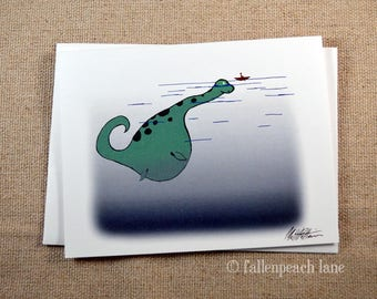 Nessi Makes a Friend - Illustrated Blank Greeting Card