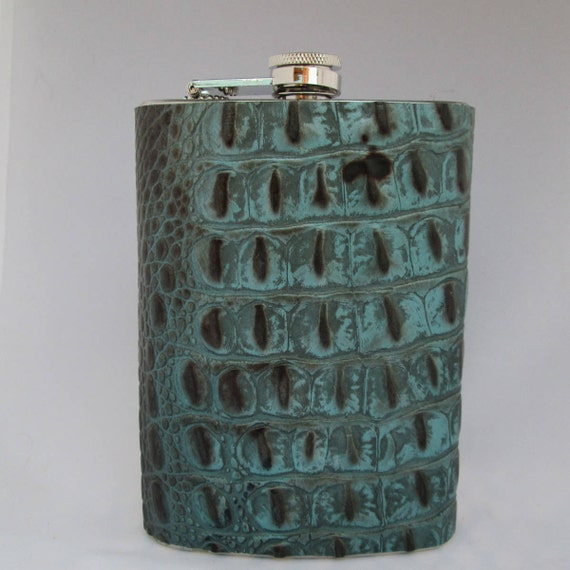Every Day Collection Flask in Blue Crocodile