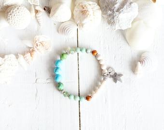 Phuket bracelet, elastic wire, beads, turquoise, blue, green, cream, orange, starfish charm, beach style, summer jewel, for women