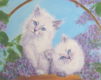 """An original painting, """"Easter Kittens"""" by Sherri Hepler, acrylic on canvas"""