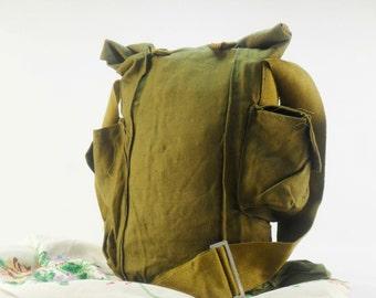 Military bag Vintage Cross body bag Military Canvas Handbag Gas Mask Bag Army Green Canvas Bag Bag Soviet Army Authentic Gas Mask Bag