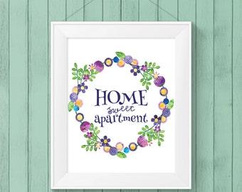 PRINTABLE WALL ART - Home Sweet Apartment - Wall Print - Downloadable Art - Home Decor - Apartment Decor