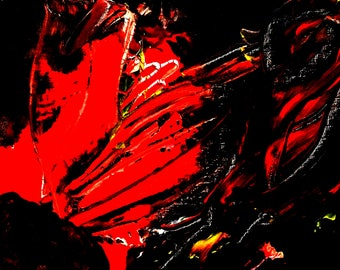 Large Abstract Painting Print On Canvas Red Black