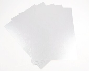 A4 SILVER CARD (5 Sheets)  - Metallic Silver Thick Card Stock Sheets (21cm x 29.7cm)