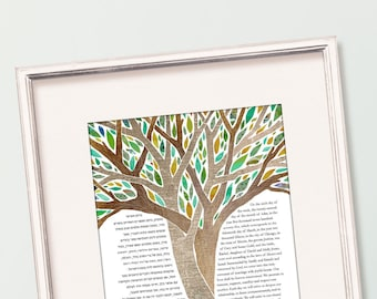 Contemporary Custom Ketubah Marriage Certificate Intertwined Trees Delight