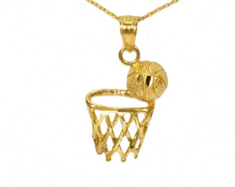 14k Yellow Gold Basketball Necklace