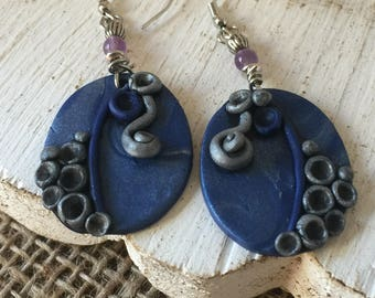Unusual Earrings   Large Drop Ovals, Sculpted of Denim Blue and Silver