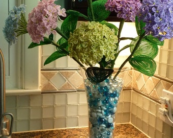 6 Stems of Hydrangeas (Free Shipping) -- French Beaded Flower Arrangement