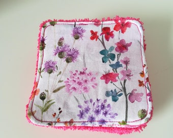 Washable cotton with flowers and Terry cloth rose.